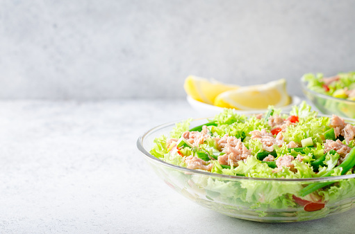 Fresh tuna salad, front view