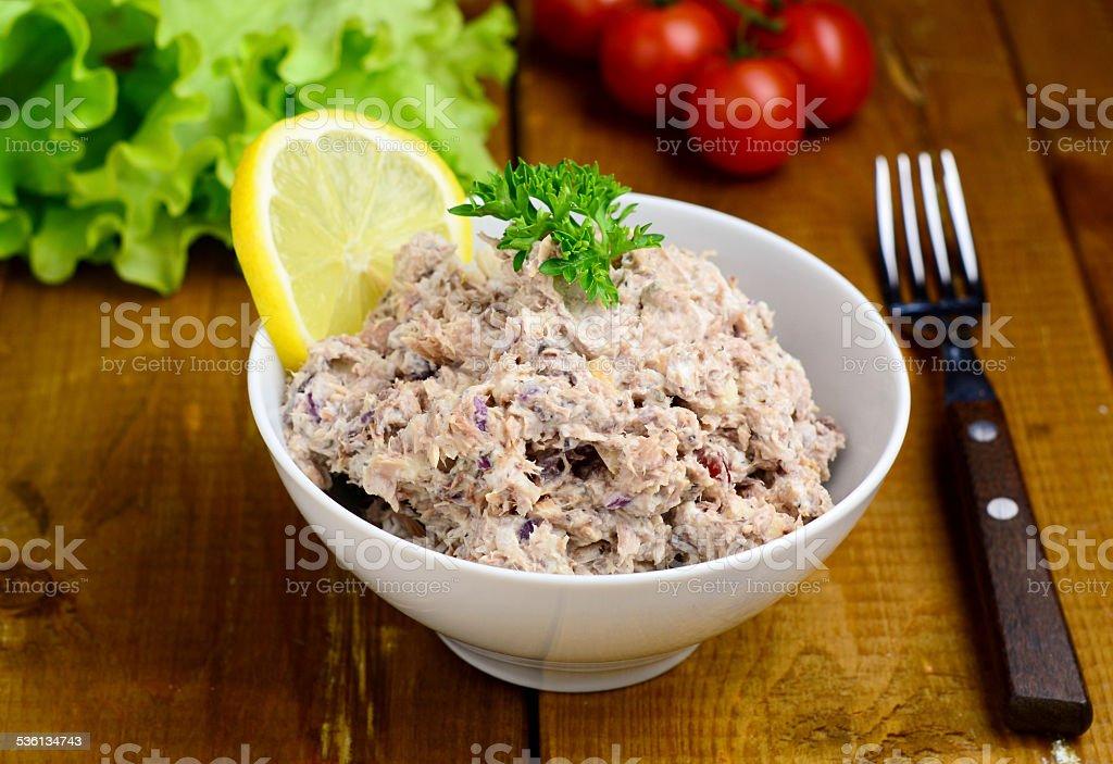 Fresh tuna salad in bowl, close up stock photo