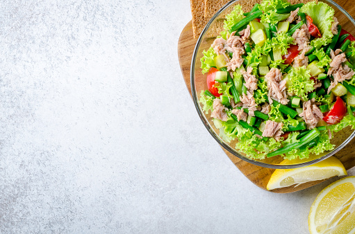 Fresh tuna salad, top view