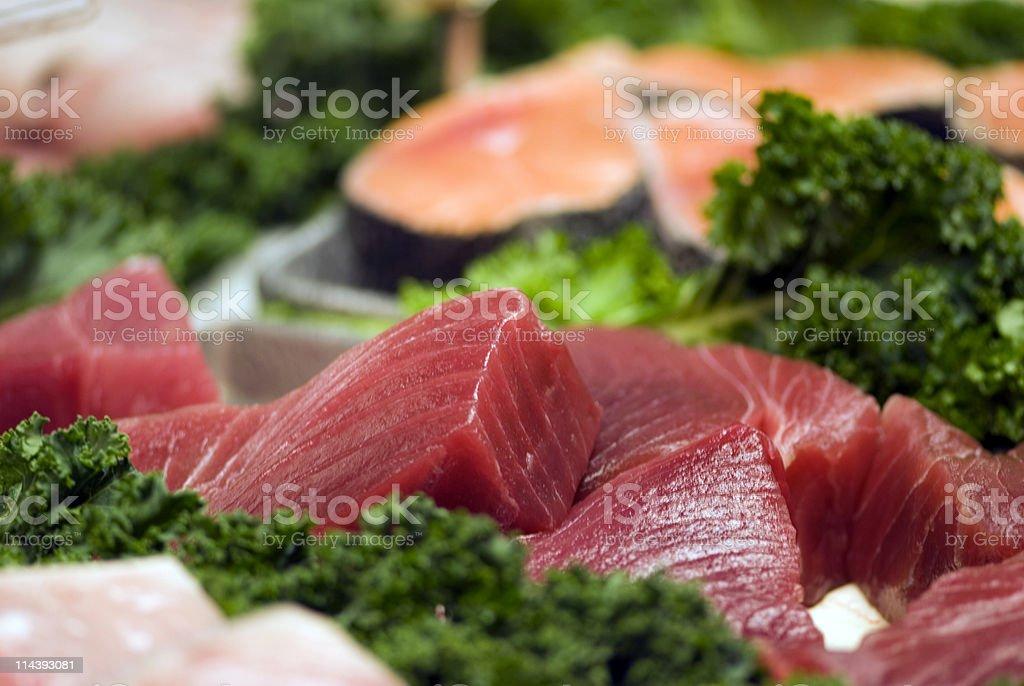 Fresh tuna steaks in the fish market stock photo