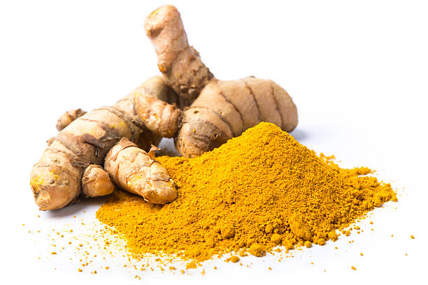 Fresh turmeric isolated on white stock photo