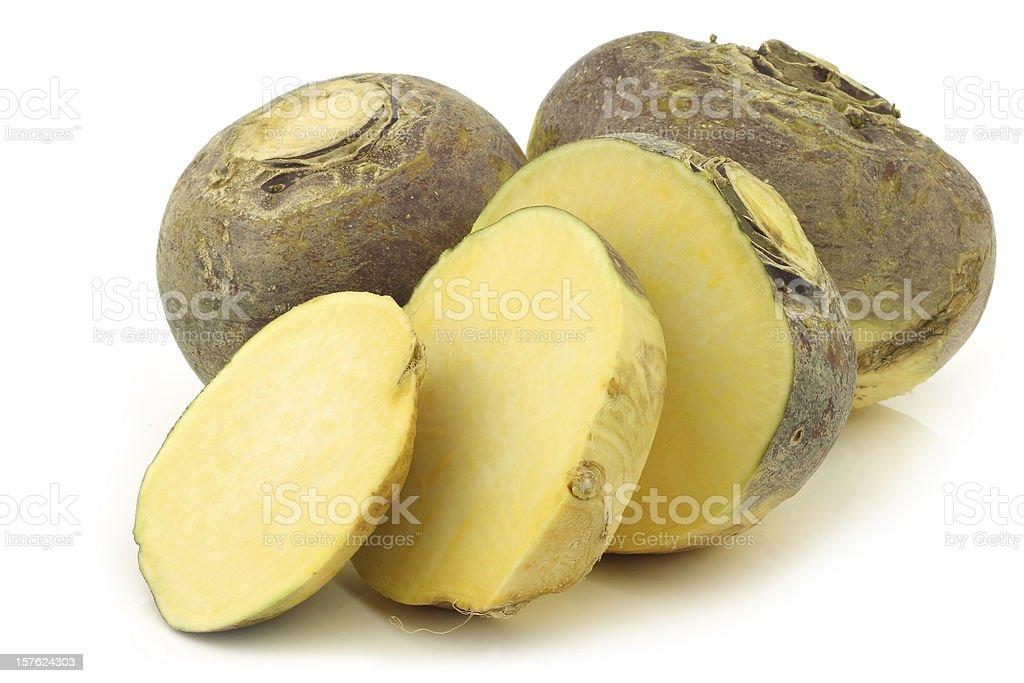 fresh turnip(brassica rapa rapa) and a cut one stock photo