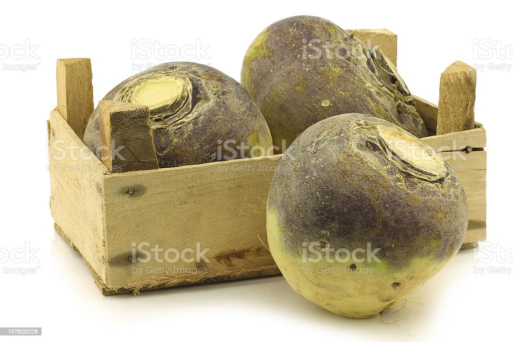 fresh turnip(brassica rape rapa) in a wooden crate stock photo