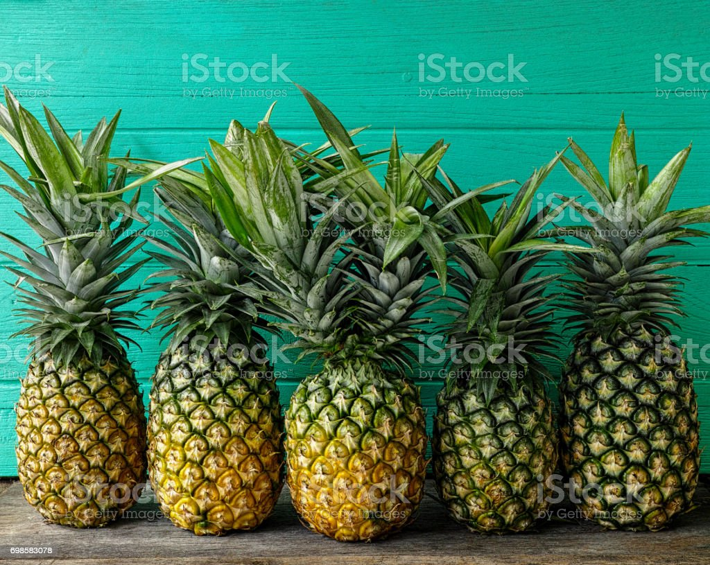 Fresh two-headed tropical pineapple standing in the middle of a row of pineapples, on a rustic wooden table against a turquoise wooden walled background. stock photo