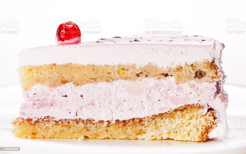 fresh vanilla slice of cake closeup royalty-free stock photo