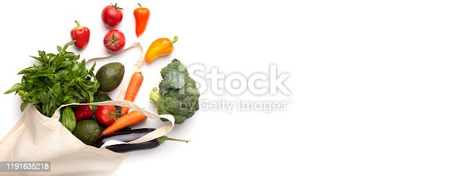 Clean eating. Fresh variety of vegetables in zero waste cotton bag isolated on white background, panorama, copy space