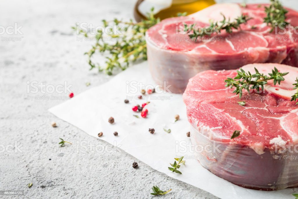 Fresh veal shank slices stock photo
