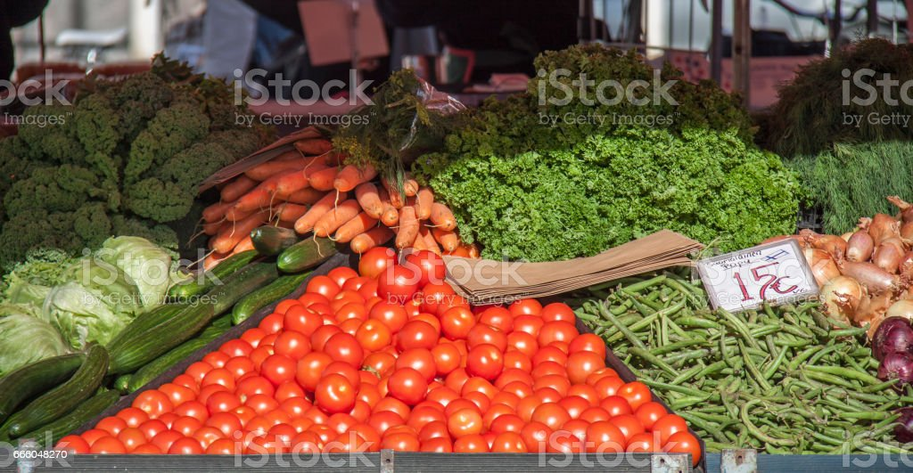 Fresh vegetable and fruit stand at market square helsinki finland stock photo