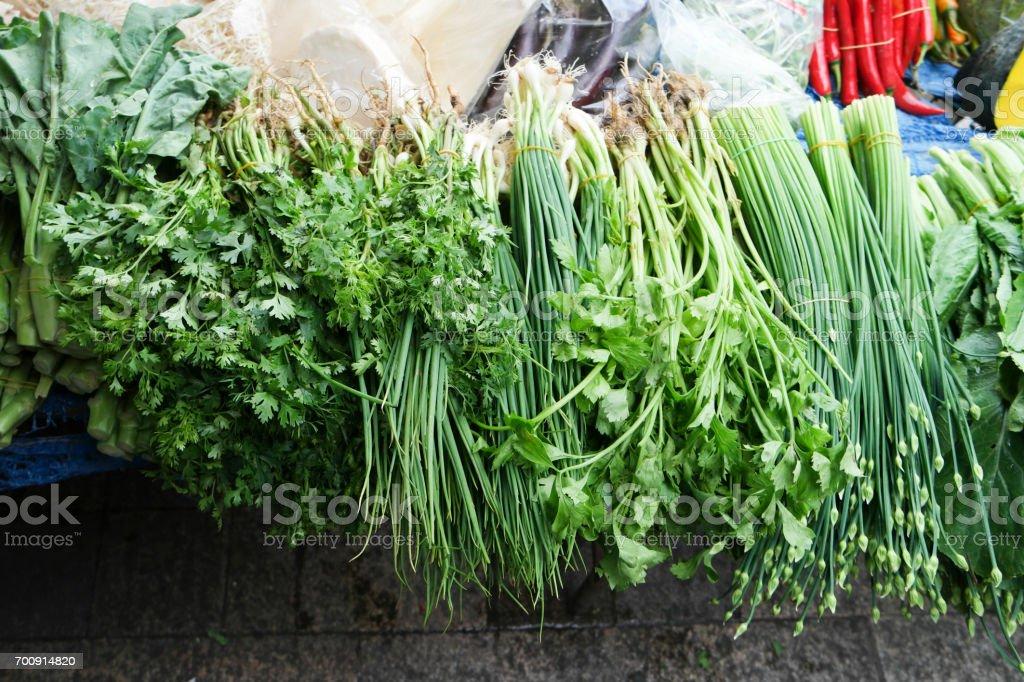 Fresh vegetable for sale in street market. stock photo