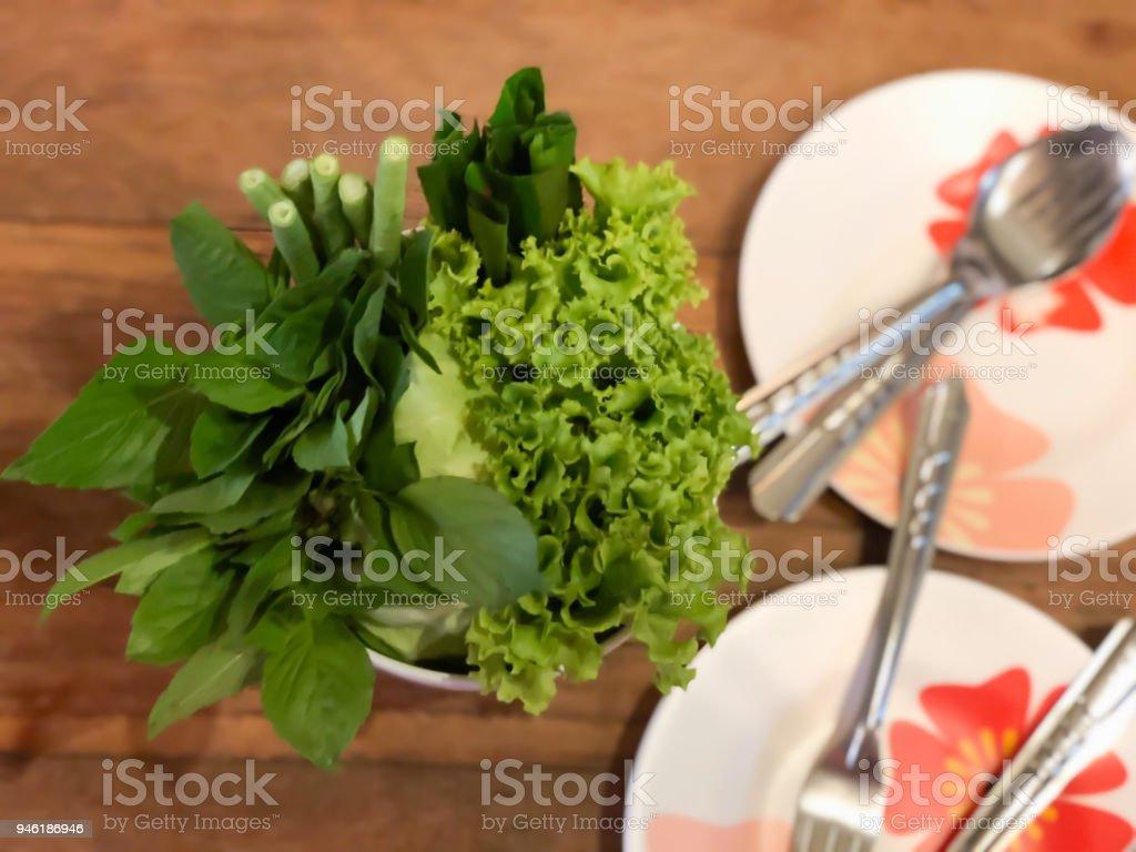 Fresh vegetable in bowl for eating Thai food stock photo