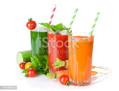 Fresh vegetable juices. Tomato, cucumber, carrot. Isolated on white background