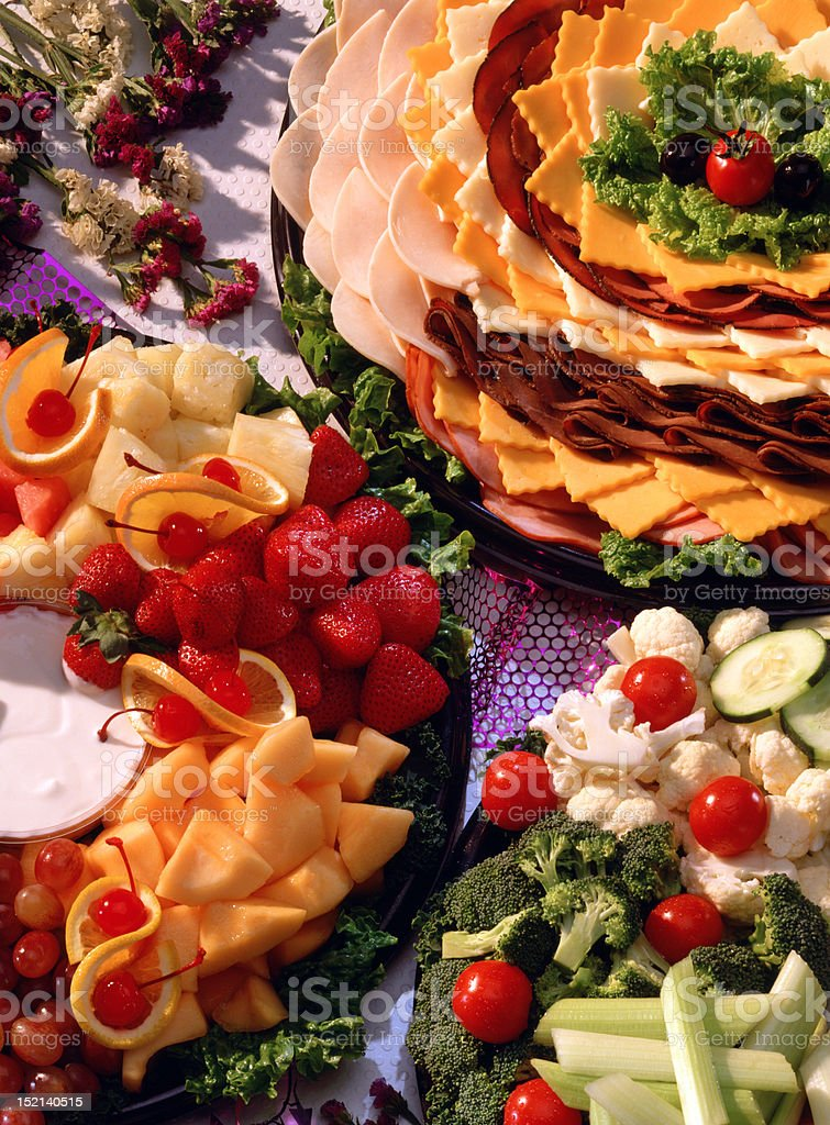 Fresh vegetable meat and cheese tray stock photo