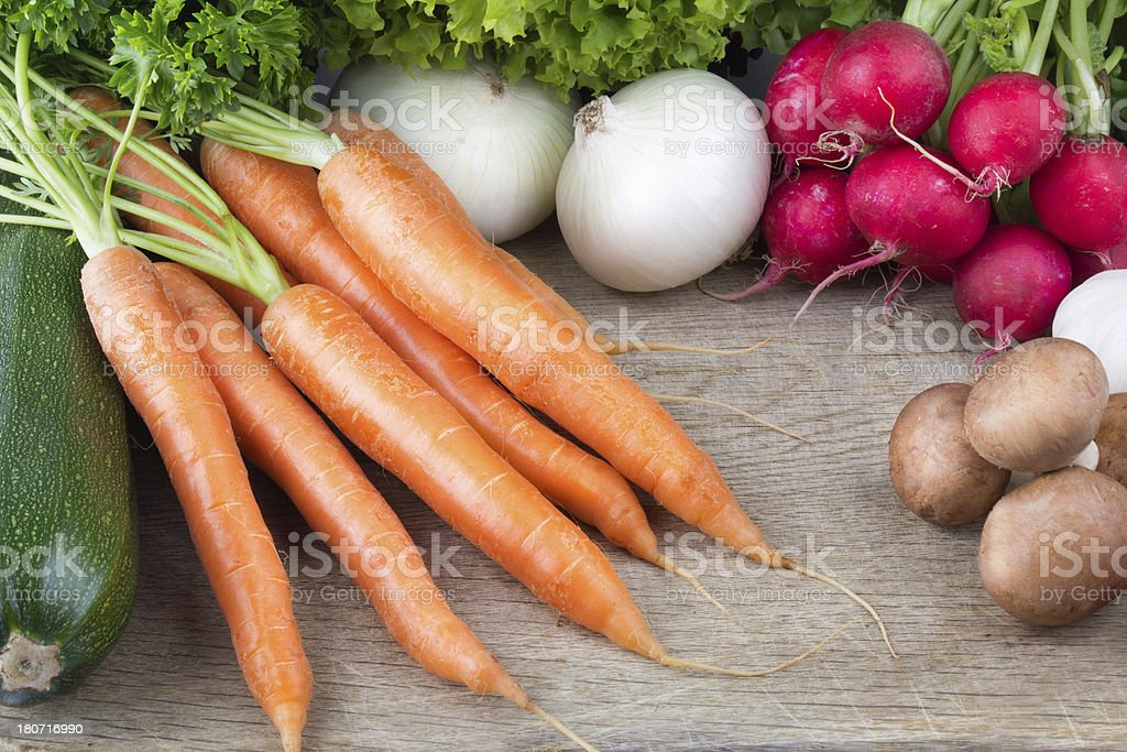 Fresh vegetable mix on cutting board royalty-free stock photo