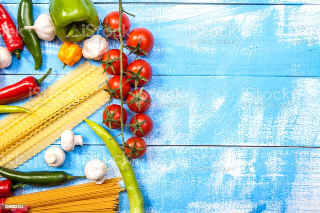 Fresh vegetable on blue table royalty-free stock photo
