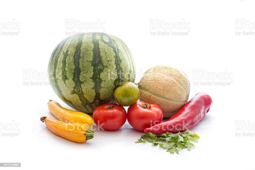 Fresh vegetable on white stock photo