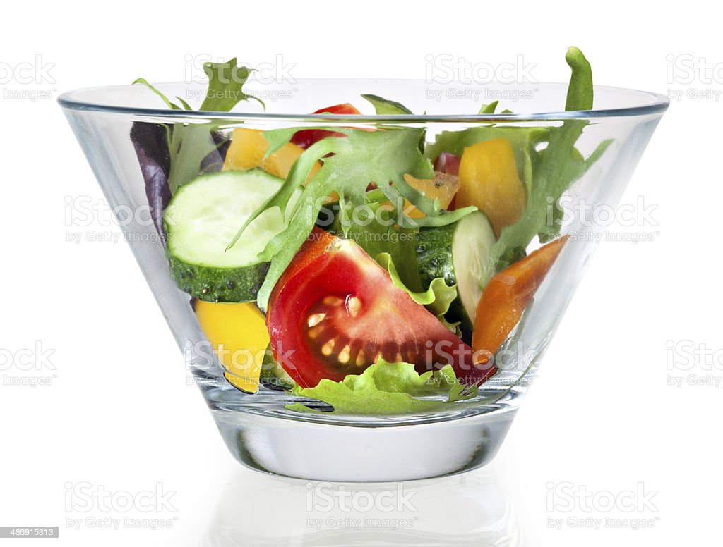 Fresh vegetable salad in bowl. With clipping path stock photo