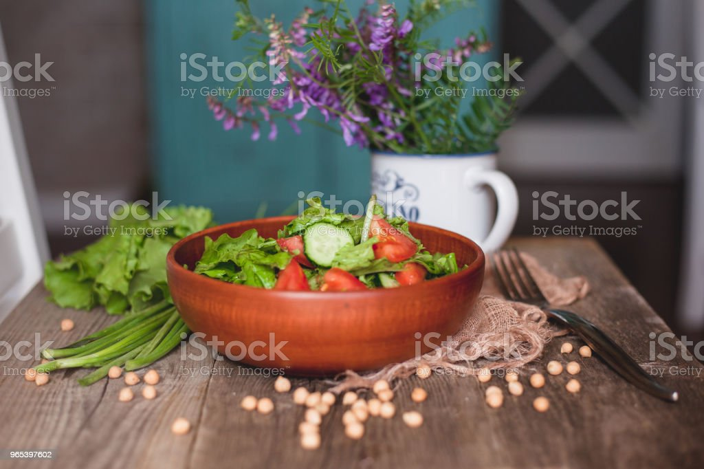 fresh vegetable salad in the kitchen royalty-free stock photo