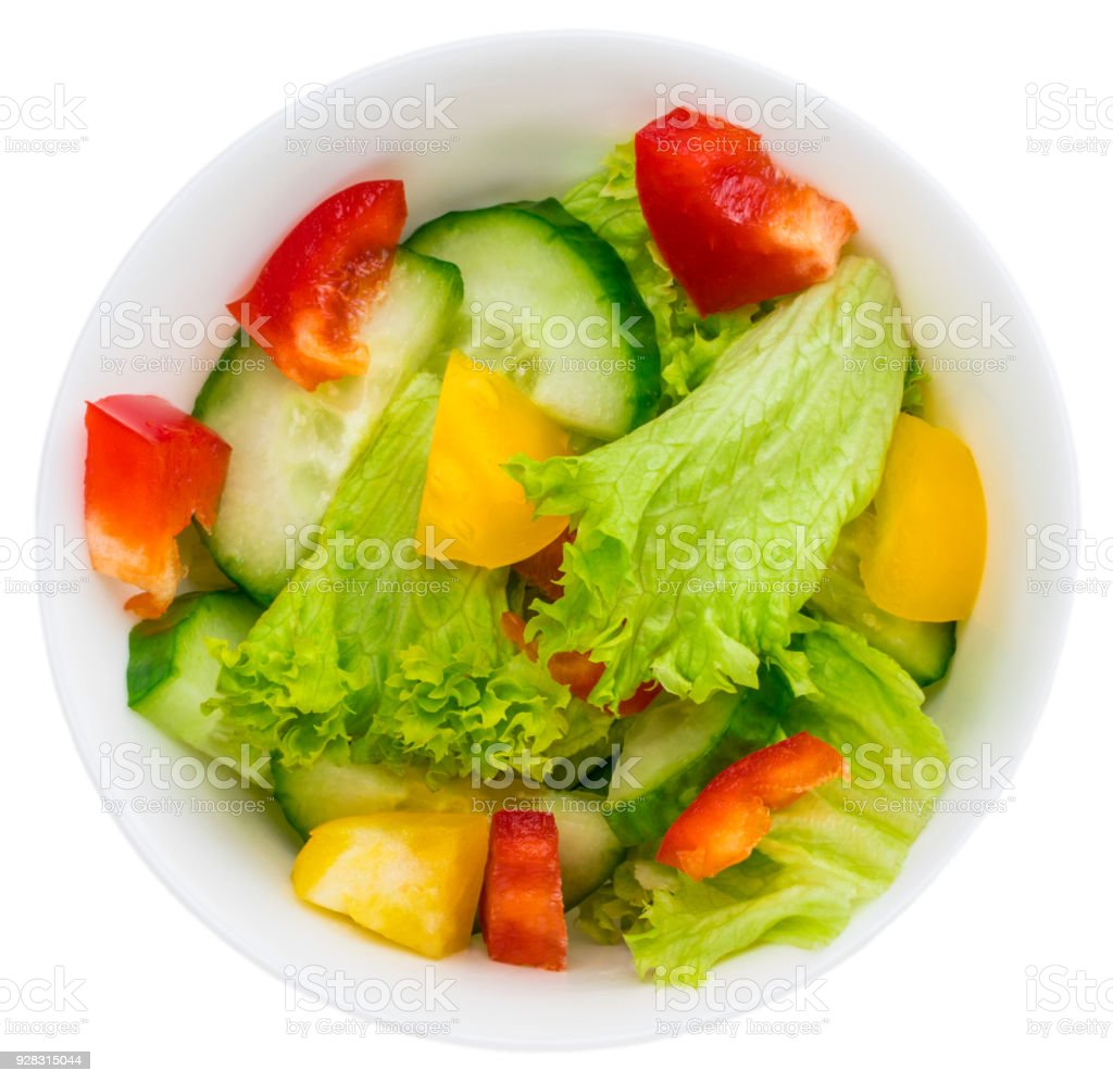 Fresh Vegetable Salad Isolated On White Background Stock Photo Download Image Now