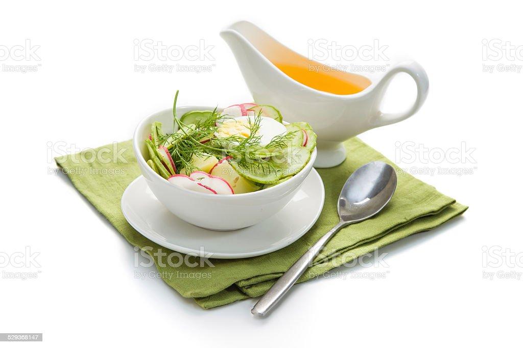 Fresh vegetable salad with sauce. Okroshka - Ukrainian Cold vege stock photo