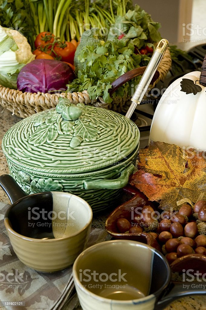 Fresh Vegetable Soup Crock royalty-free stock photo