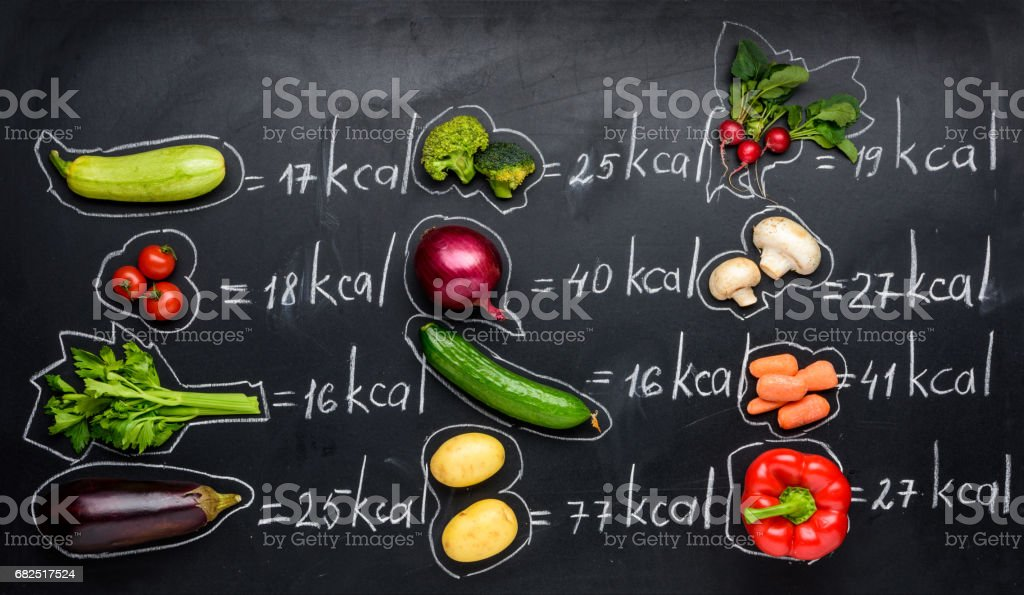 fresh vegetables and calories table isolated on black, healthy lifestyle concept royalty-free stock photo
