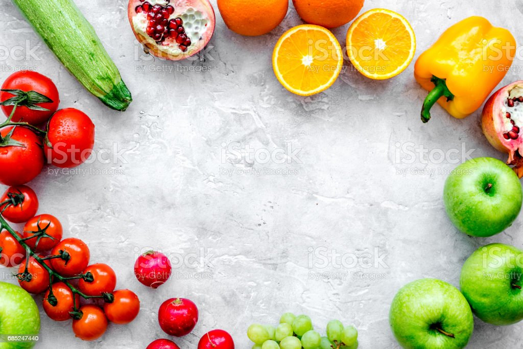 fresh vegetables and fruits for fitness dinner on stone background top view mockup foto de stock royalty-free
