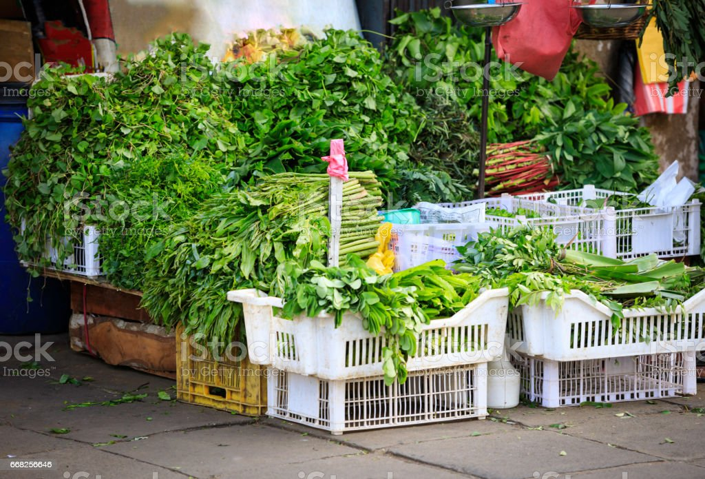 fresh vegetables and  fruits on sale at a street market stock photo
