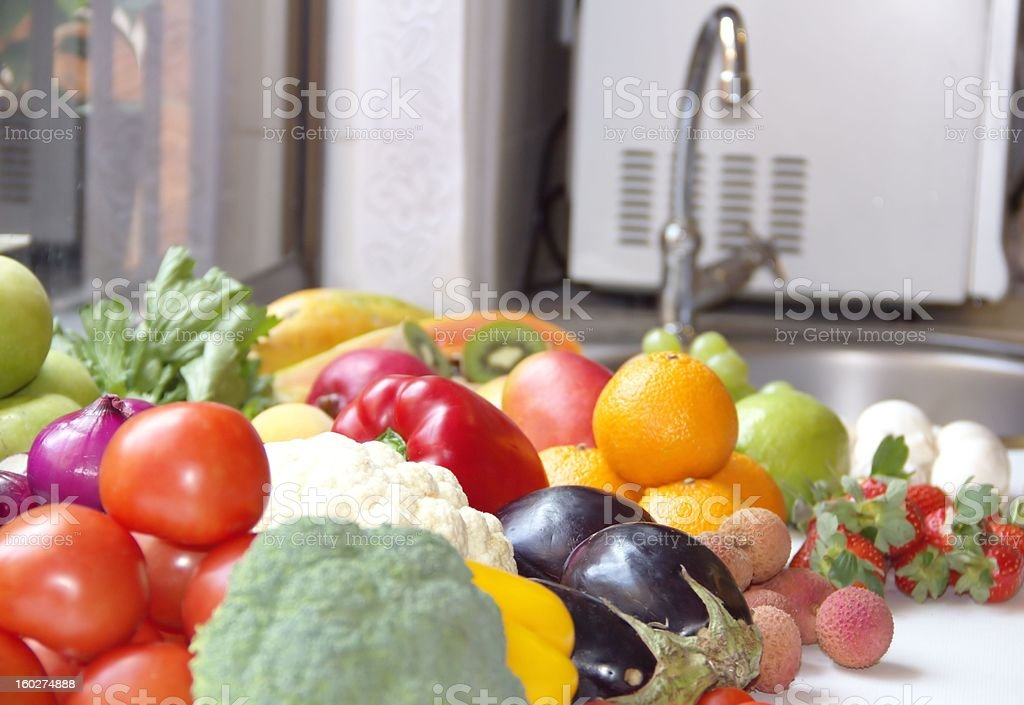 Fresh vegetables and fruits on the table royalty-free stock photo