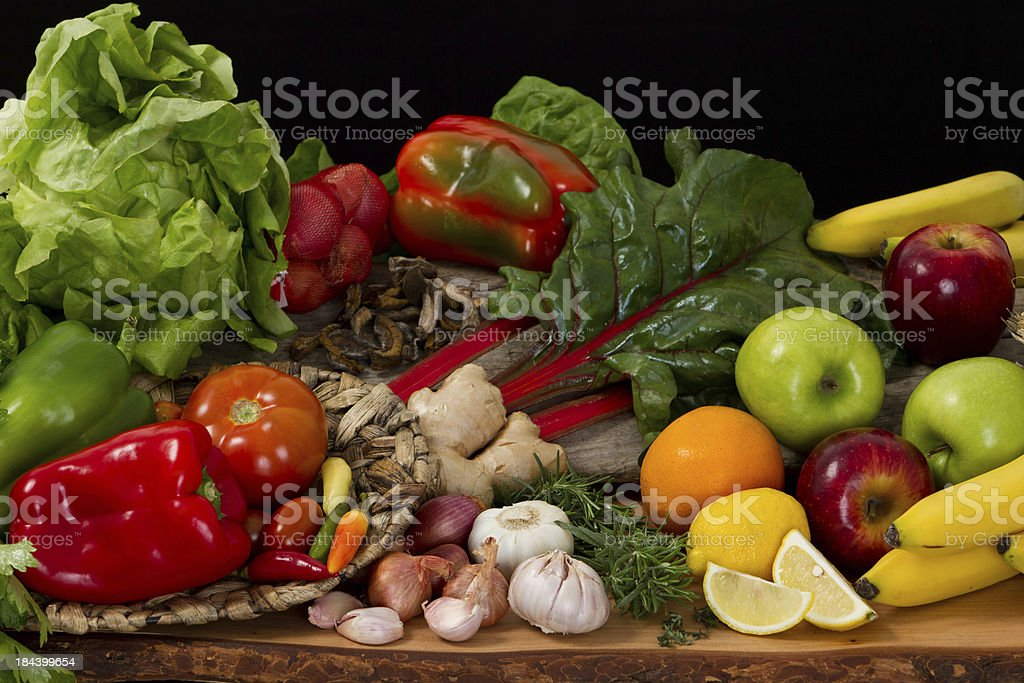 Fresh vegetables and fruits royalty-free stock photo