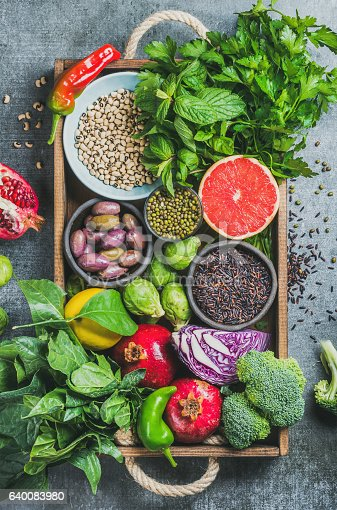 istock Fresh vegetables and fruits, seeds, cereals, beans, spices, superfoods, herbs 640083980