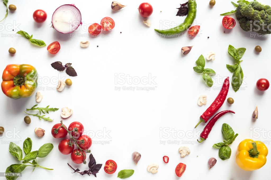 fresh vegetables and herbs stock photo