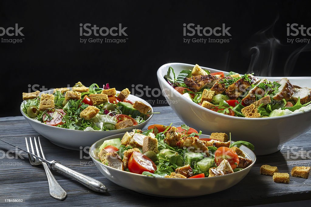 Fresh vegetables and roasted chicken as a healthy food royalty-free stock photo