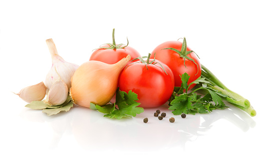 Fresh Vegetables and Spices on white background