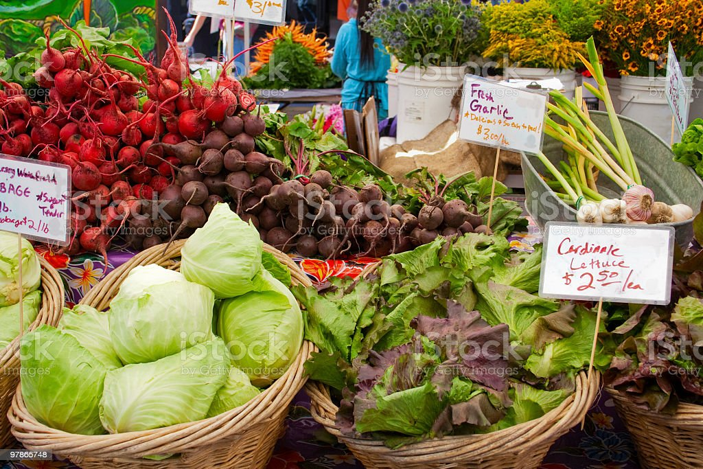 Fresh vegetables at a farmers market royalty-free stock photo
