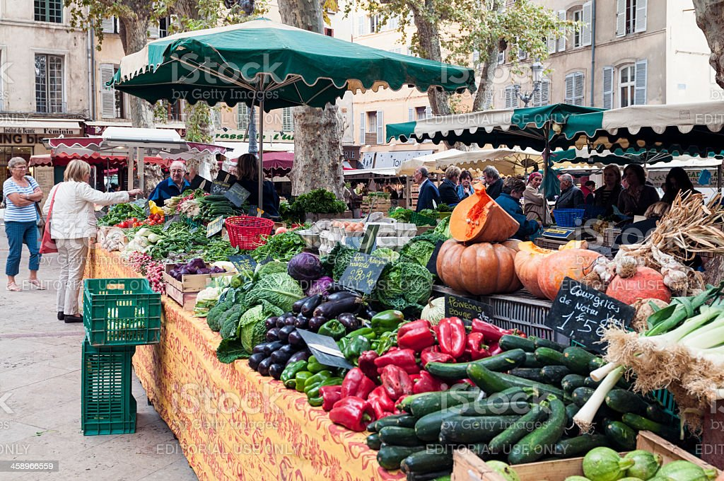 Fresh Vegetables at a French Market stock photo