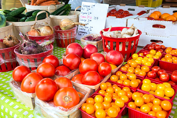 Fresh vegetables at market stock photo