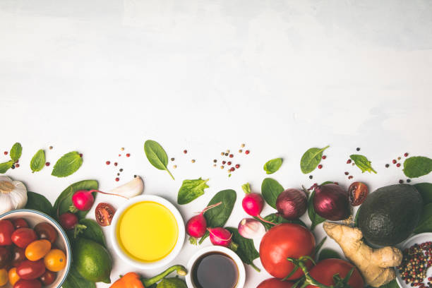 Fresh vegetables background, flat lay, top view stock photo
