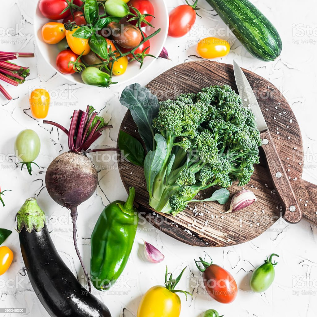 Fresh vegetables - broccoli, tomatoes, eggplant, zucchini, beets, peppers royalty-free stock photo