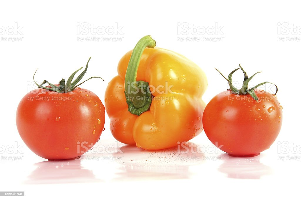 fresh vegetables close up. Pepper and tomatos royalty-free stock photo