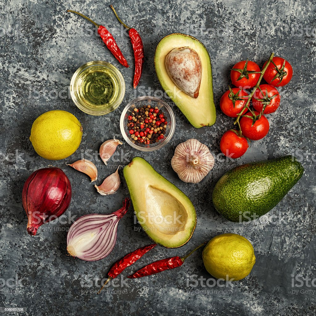 Fresh vegetables for cooking on dark background. stock photo