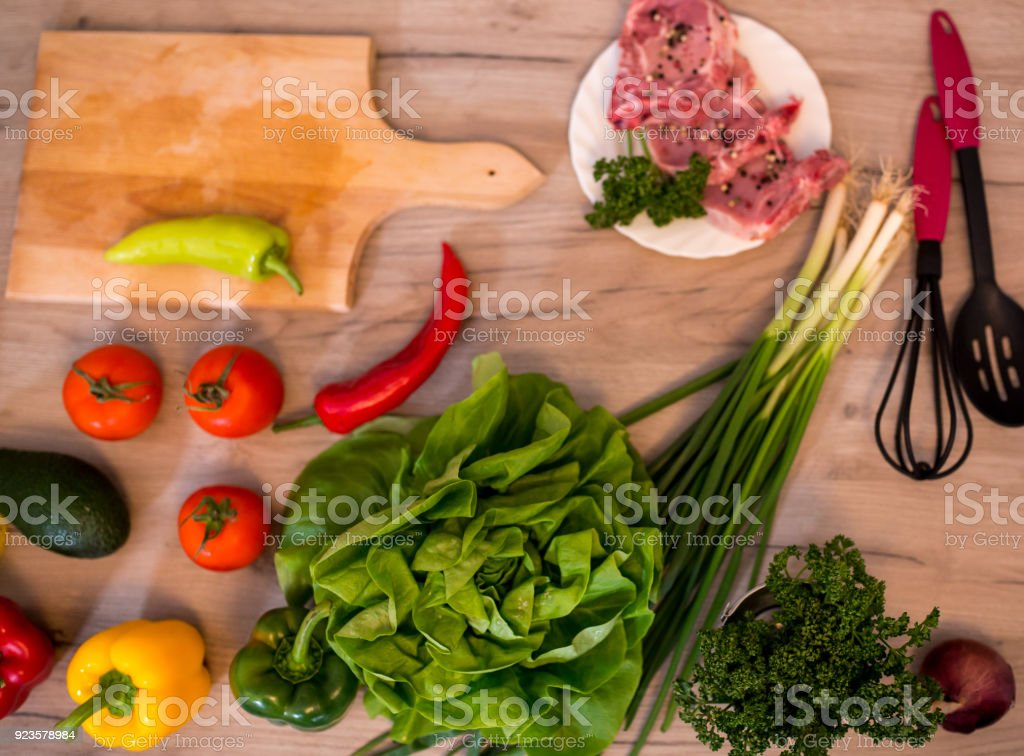 Fresh Vegetables For Salad On A Kitchen Table Stock Photo More