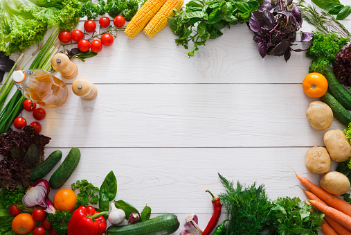 Fresh Vegetables Frame On White Wood Background With Copy ...