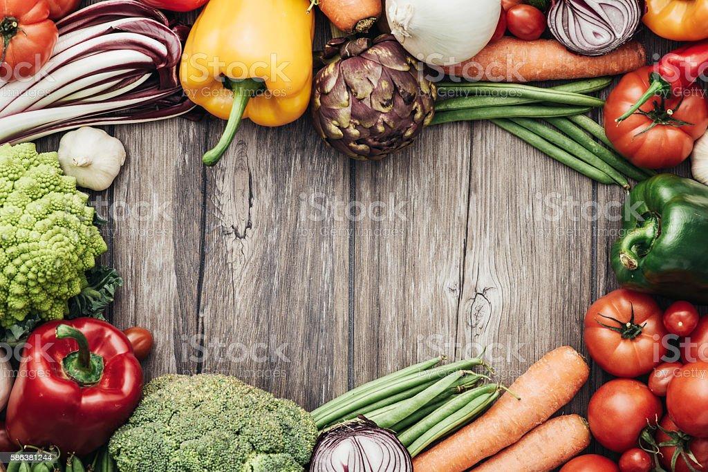 Fresh vegetables frame stock photo