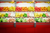 Digitally generated fresh vegetables and fruits on shelf in supermarket/hypermarket (Background)\n\nThe scene was rendered with photorealistic shaders and lighting in Autodesk® 3ds Max 2016 with V-Ray 3.6 with some post-production added.
