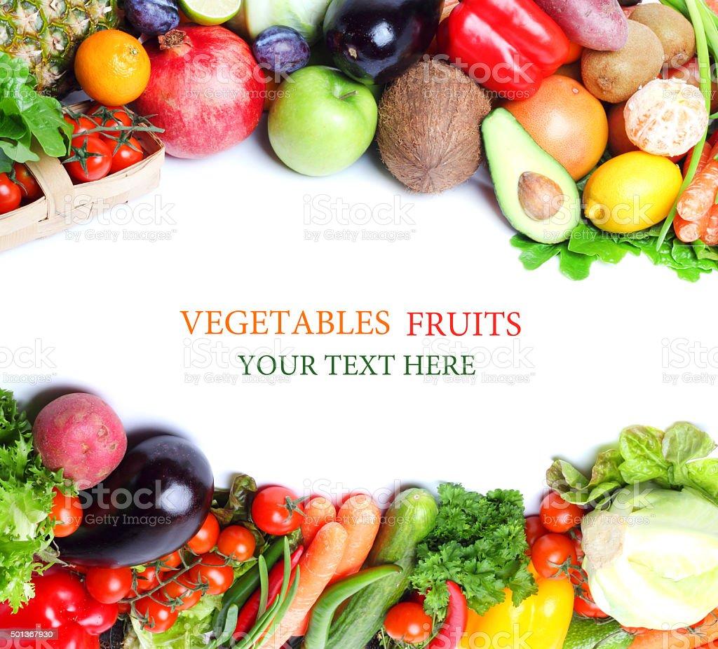 Fresh vegetables fruits isolated white background stock photo