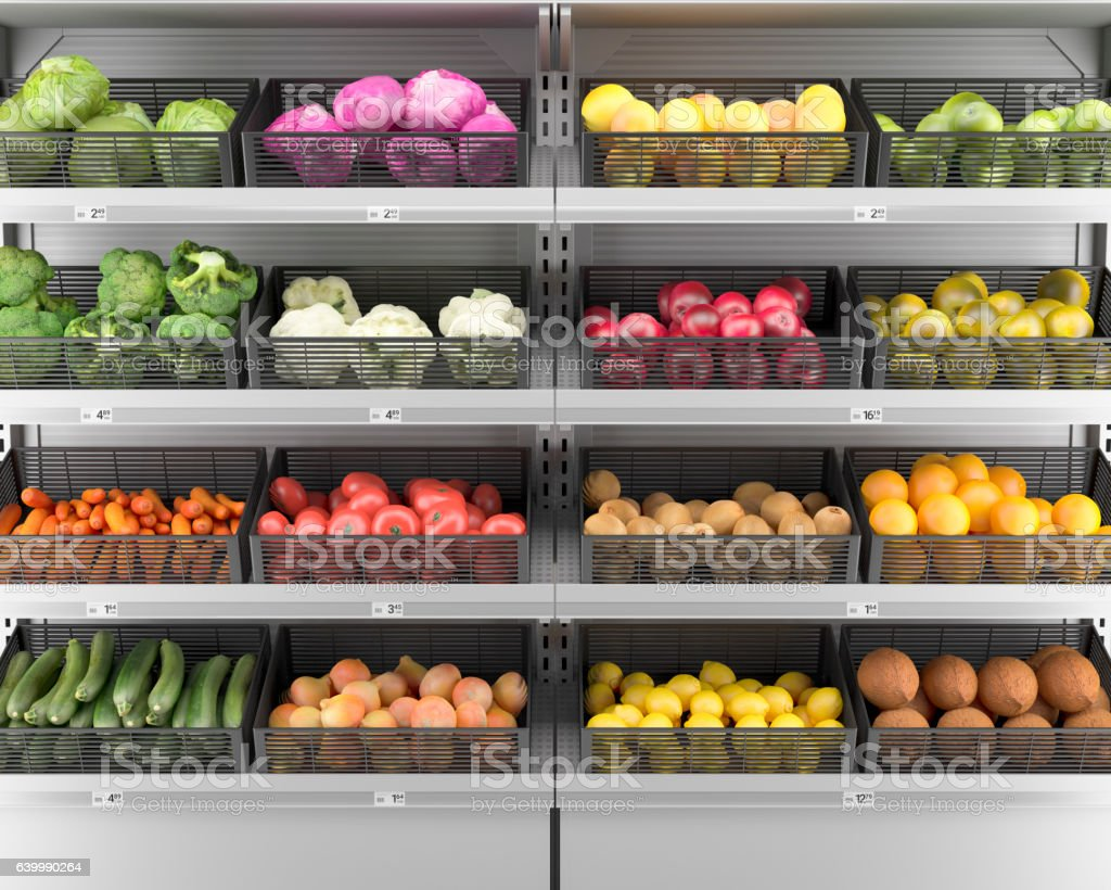 Fresh Vegetables & Fruits On Shelf In Supermarket (Background) stock photo