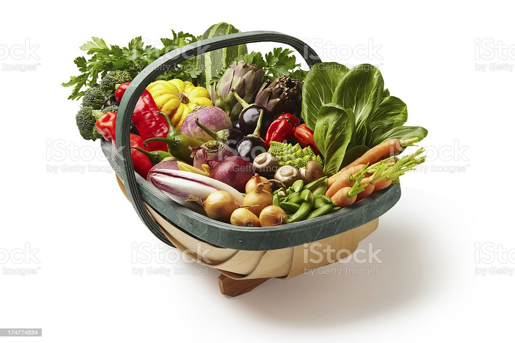 Fresh vegetables in a basket isolated on white stock photo