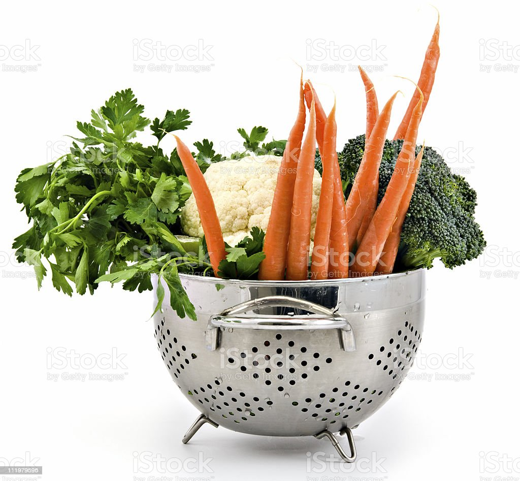 Fresh Vegetables in a Colander royalty-free stock photo