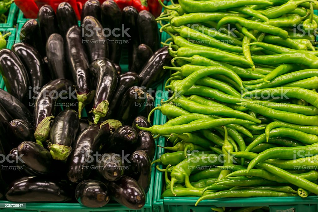 Fresh vegetables in a supermarket stock photo
