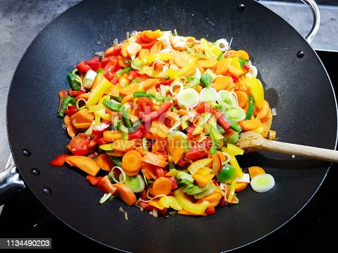 cooking with fresh vegetables in a wok